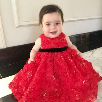 Baby Girl Flower Sequin Party Dress