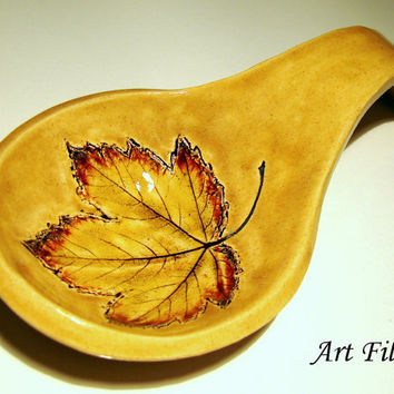Unique Ceramic Spoon Rest One of a Kind Table Decoration Cooking Serving Home Kitchen Pottery Rustic Folk Hostess Housewarming Wedding Gift