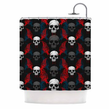 "BarmalisiRTB ""Winged Skull Head"" Blue White Love Nature Digital Mixed Media Shower Curtain"