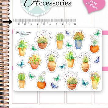 Cactus Stickers Succulent Stickers Plants Stickers Flower Stickers Planner Stickers Erin Condren Decorative Stickers Live Planner NR752