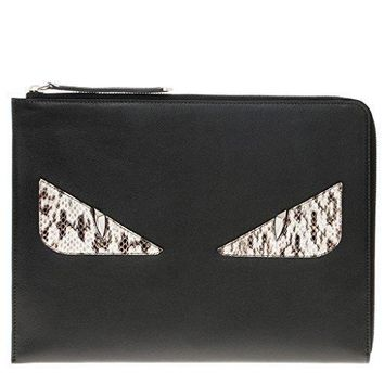 Fendi Women's Croc Embossed 'bag Bugs' Clutch Black Black