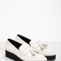 Pointed Faux Patent Flatform Loafers