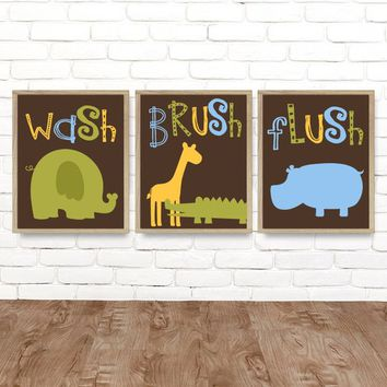 Jungle Animal BATHROOM Wall Art, Safari Jungle Animals Bath, Canvas or Print, Boy Girl Child Kid Bathroom, Safari Wash Brush Rules, Set of 3