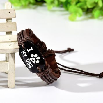 I Love my Dog Leather Bracelet
