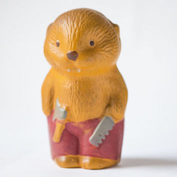 Beaver toy rubber Soviet beaver with saw and hatchet  toy vintage squeaky bath toy