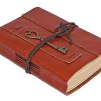 Light Brown Leather Journal with Tea Stained Paper and Heart Key Bookmark - Ready to ship