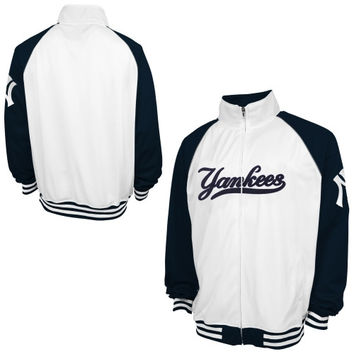 New York Yankees Majestic Big & Tall Track Jacket - White/Navy Blue
