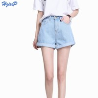 Hzirip 2017 Summer Vintage High Waisted Denim Shorts Women Plus Size Loose Casual Solid Curling Short Femme Basic Jeans Shorts