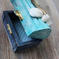 Nautical Treasure Chest , Coastal Jewelry Box , Ring Bearer Photo Prop , Beach Wedding Decoration
