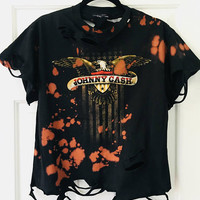 JOHNNY CASH, medium, band tee, concert tee, splatter bleached,country music. Cash shirt, concert shirt,grunge