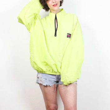 Vintage Neon Yellow SURF STYLE Windbreaker 1980s New Wave Hot Bright 80s Pullover Skater Iridescent Body Gear Bomber Jacket XL Extra Large