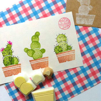 cactus rubber stamp. hand carved rubber stamp. hand carved stamp. delightful garden. nature inspired. diy projects. set of 4.