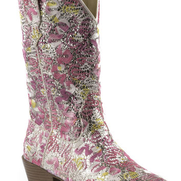 Roper Kids Boot Fashion Snip Toe Boots Pink Yellow W White Glitter All Over
