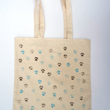 Hand Stamped Hand Painted Tote Bag Cat Dog Animal Paw Hand drawn Cotton Canvas Shopping Bag -Large Size