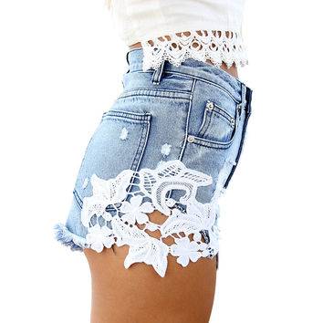 ripped pocket high waist women casual shorts Sexy lace blue denim shorts Vintage jeans girl hot shorts