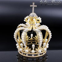 New 155*117mm Big Crown Crystal With Pearl Tiara Wedding Crown Bride Womens Head Band Vintage Baroque Royal HairBand Accessories