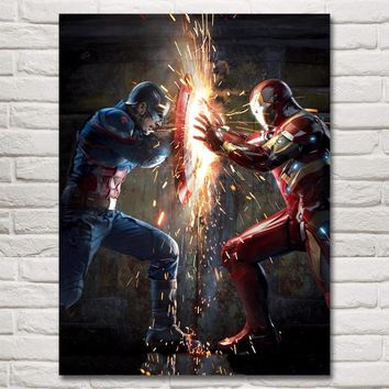 FOOCAME Captain America Hulk Iron Man Thor Hawkeye Black Widow The Avengers Movies Art Silk Posters Prints Home Decor Pictures
