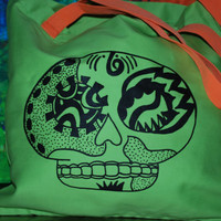SUGAR SKULL Tote, Pointillism ,Green and Orange bag, Day of the Dead, Asymmetrical Design,  Medium tote,School Bag, ooak