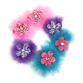 Sweet and Sassy Marabou Flower Hair Clips