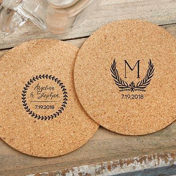 Personalized Round Cork Coasters - Botanical Garden (Set of 12)