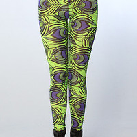 The All Over Peacock Leggings in Limelife (Exclusive)