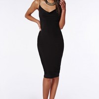 SLINKY FRONT COWL NECK MIDI DRESS BLACK
