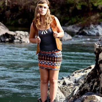 Tribal Aztec Print Mini Skirt