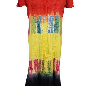Mogul Womens Holiday Dress Tie-Dye Rayon Embroidered Floral Cap sleeves Tank Dress: Amazon.ca: Clothing & Accessories