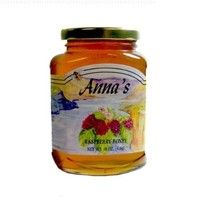 Gourmet Raspberry Honey, 18 oz Elegant Glass Jar - Natural, Raw Honey - by Anna's Honey (Case of 12)
