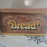 Vintage Breadbox Bread Tin Wheat Heart Brand Breadbox Bread Box Metal Breadbox Vintage Breadbox Bread Storage Storage Tin Storage Box