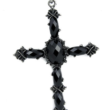Black Stone Vampire Cross Necklace Dark Jewelry Gothic Anime Cosplay
