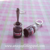 Nutella with silver spoon in glass jar cute earrings by ana92pl