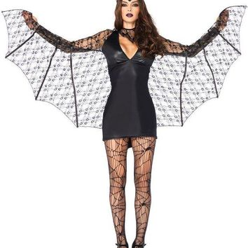 DCCKLP2 3PC.Moonlight Bat,wet look dress w/wing sleeves,neck piece,headband in BLACK