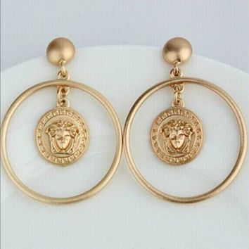 LMFON VERSACE Women Fashion Medusa Large Earrings Jewelry