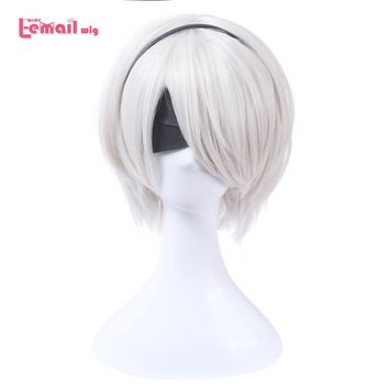 L-email wig Game Character 2B 9S Cosplay Wigs White 30cm/11.8inches Women Men Heat Resistant Synthetic Hair Perucas Cosplay Wig