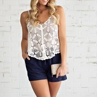 Britton Crochet Tank Top : Ivory