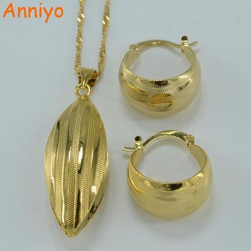 Anniyo Ethiopian set Jewelry Pendant Necklace Earring Gold Color African Bridal  Wedding Jewellery Arab  054806 b29e7d81df9d