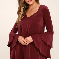 Get a Glimpse Burgundy Long Sleeve Shift Dress
