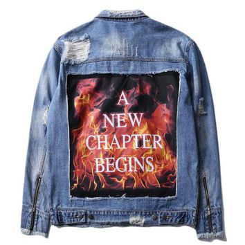 """A New Chapter Begins"" Distressed Denim Jacket"