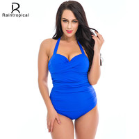 One Piece Swimsuit Plus Size Swimwear Women 2017 Summer Beach Wear Halter Push Up Bathing Suit Swim Retro High Waist Swimsuit
