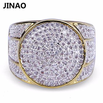JINAO Hip Hop Rock Iced Out Bling Jewelry Ring Gold Color Micro Pave Cubic Zircon Rings 7,8,9,10,11 Five Sizes  For Male Gifts