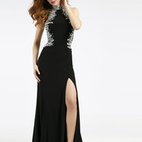 Jovani 98527 Jeweled Jersey Backless Prom Dress with High Leg Slit