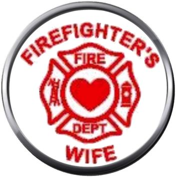 Heart Inside Maltese Cross Firefighter Wife Thin Red Line Courage Under Fire 18MM-20MM Snap Charm Jewelry New Item