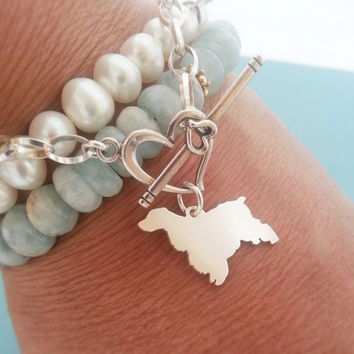 English Cocker Spaniel Chain Bracelet, Sterling Silver Personalize Pendant, Breed Silhouette Charm, Rescue Shelter, Birthday Gift