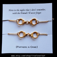 Set of 2 Gold plated Handcuffs bracelets - BFF jewelry - Best friends Graduation gift idea Best bitches handcuff jewelry sisters partners in