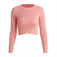 Round Neck Long Sleeve Elastic Slim Fit Knitted Sweater in Pink