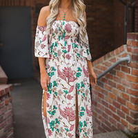 By Your Side Off The Shoulder Floral Printed Maxi (Ivory)