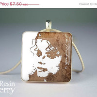 ON SALE: art scrabble tile pendant,jewelry pendant,Michael Jackson  resin pendants,photo charm- W0313SP