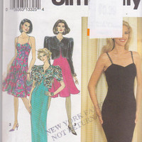 Pattern for fitted cocktail or evening dress, spaghetti straps, straight or flared skirt,  jacket misses size 4 6 8 Simplicity 8128 UNCUT