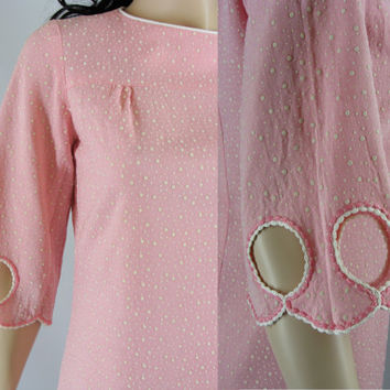 Vintage Mod Dress, Pink Speckled Sixties Mini Sheath Dress with Embroidered Cut Out Bell Sleeves, Medium